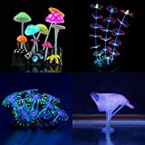 Yuxier Aquarium decor Glowing Mushroom glowing Coral Ornament for Fish Tank (4 pieces) …