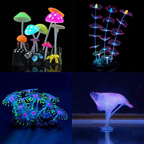 YUXIER Aquarium Decorations Glowing Mushroom Glowing Coral Ornaments for Fish Tank Decorations(4 Pieces) Blue Glowing Fantasy Mushrooms