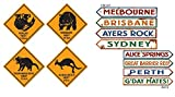 TCS Party Bundles Australian Wall Decorations 8 Piece Bundle Outback Street Signs Roadsigns