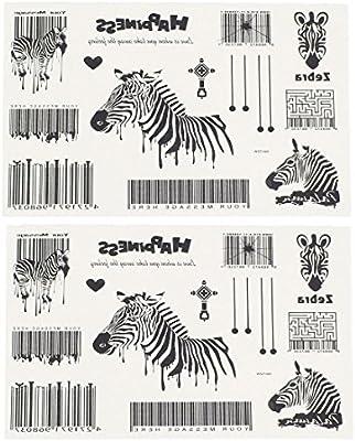 Zebra Bar Code Body Art Removable Sticker Temporary Tattoos 2 Pieces Amazon Co Uk Health Personal Care