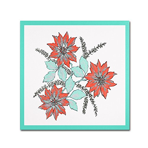 Modern Poinsettia Artwork by Patty Tuggle - poinsettia wall decor