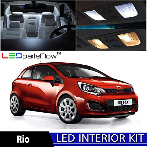 Kia Rio Hatchback (LEDpartsNow 2012-2018 KIA RIO Hatchback LED Interior Lights Accessories Replacement Package Kit (9 Pieces), WHITE)