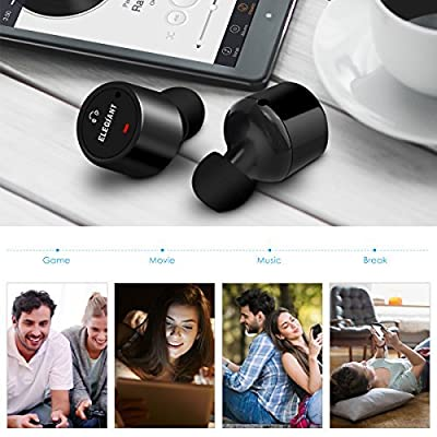 Wireless Earbuds, ELEGIANT Stereo Bluetooth Earphones Mini in-ear Sport Headphones with Mic for iPhone 8/7/7Plus/6/6s/6Plus/iPad/SamsungS7/S6/Edge S5/Note 5/Sony/LG/PCs/Tablet [Upgraded Version] Black