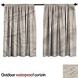 BlountDecor Sun Block Outdoor curtainAnti-Water W55 x L72(140cm x 198cm) Taupe and White,Ottoman Foliage