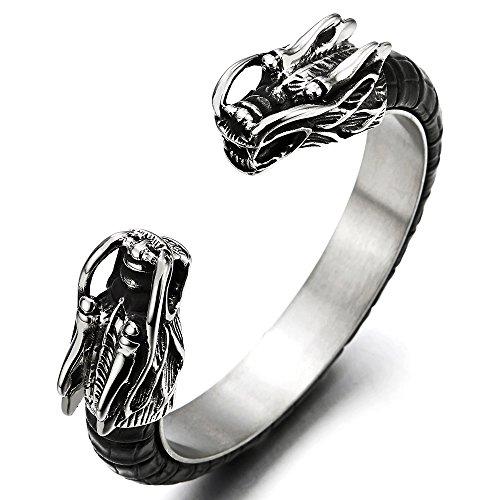 - COOLSTEELANDBEYOND Mens Stainless Steel Dragon Cuff Bangle Bracelet Inlaid with Black Leather, Elastic Adjustable