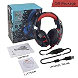Cheap Computer Gaming Headset, 7.1 Surround Stereo Sound USB Computer Gaming Headset With Microphone, Volume Control and LED Light for PC MAC Computer Laptop (Red)