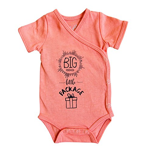 Short Sleeved Kimono Bodysuit (Girls' Preemie Onesie-100% Organic Cotton-'Big Miracle Little Package' NICU Nurse Approved Clothing)