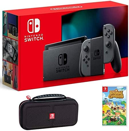Nintendo Switch Bundle w/Game & Case: Nintendo Switch 32GB Console with Gray Joy-Con, Animal Crossing New Horizons Game, Tigology Travel Case