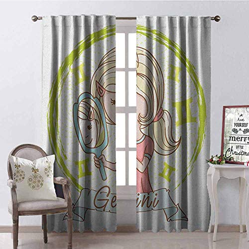 - GloriaJohnson Zodiac Gemini Shading Insulated Curtain Cartoon Style Little Girl with a Mirror and Reflection Twins Concept for Kids Soundproof Shade W42 x L90 Inch Multicolor