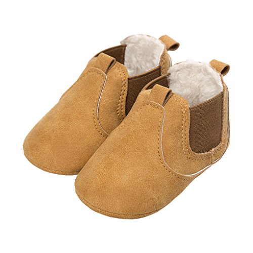 Baby Girls Plush Chelsea Boots Ankle Snow Booties Soft Sole Pull-On Crib Shoes Yellow Size L