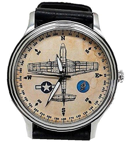 North American P-51 Mustang Guerra Mundial II diseño de brújula arte Sepia Vintage pergamino Dial de reloj de pulsera: Amazon.es: Relojes
