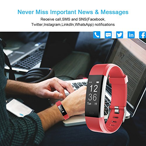 007plus Fitness Tracker HR, ID115 Plus Activity Tracker with Heart Rate Monitor, IP67 Waterproof Smart Watch with Step Counter Calorie Counter Sleep Monitor Pedometer Watch for Kids Women Man (red)
