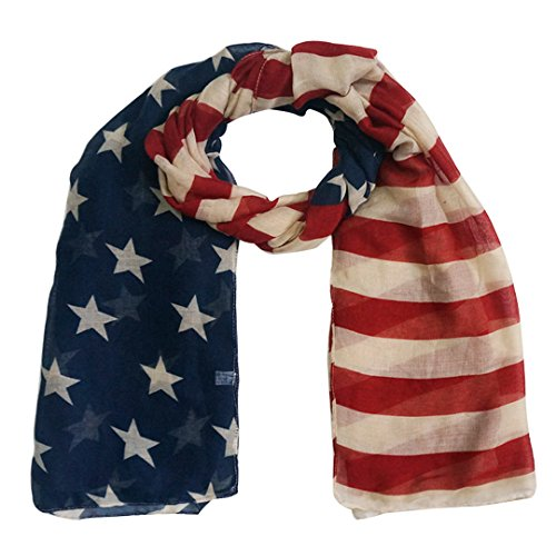 Aisa Women Fashion Lightweight Infinity Scarf Large American Flag Print Scarves Vintage Classic Beach Long Wrap Shawl Red Blue (Vintage Print Scarf)