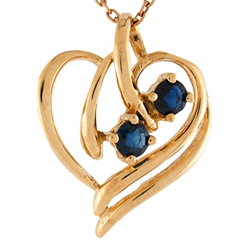 Genuine Blue Sapphire Pendant (14k Yellow Gold Genuine Blue Sapphire Accented Ladies Modern Heart Pendant)