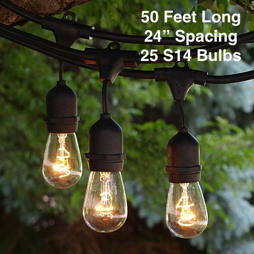 Outdoor-Patio-String-Lights-Heavy-Duty-Hanging-Patio-Lights-50-Feet-With-25-Hanging-Sockets-30-11-Watt-S14-Bulbs-Included-Black-Wire-Weatherproof-Commercial-Grade-Bistro-Lights