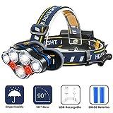 GuDoQi Linterna Frontal LED USB Recargable 4000LM Lámpara De Cabeza 7LEDs 8 Modos Luz De Bicicleta Foco Luces Headlamp Impermeable para Campismo Senderismo Ciclismo Reparación