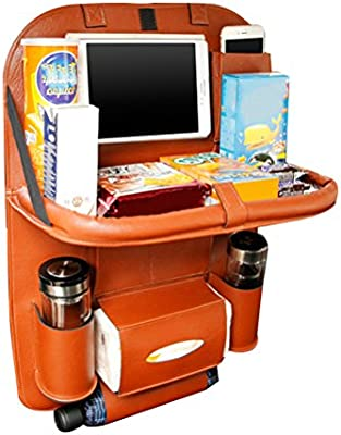 Phones and Journals Made of PU Leather Napkins HOOPEN Car Back Seat Organizer with Tablet Holder and Folding Table Multi-Pocket Travel Storage for Bottles Brown
