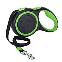 SlowTon Retractable Dog Leash, 16ft Walking Jogging Training Leash with Polyester Tape for Small Medium Dog up to 50lbs, with Hand Grip and One Button Brake & Lock (Green)