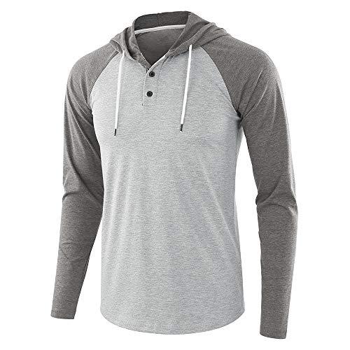 WULFUL Men's Casual Lightweight Long Sleeve Raglan Henley Jersey Hoodie Shirt ()