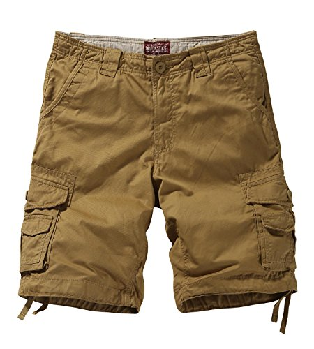 Glory Mens Button Front Shirt - Match Men's Twill Comfort Cargo Short Without Belt #S3612 (Label Size 2XL/36 (US 34), Khaki)