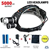 #9: Brightest LED Headlamp, 5000 Lumen Flashlight, Headlight, with Rechargeable Batteries, Good for Hiking, Camping, Riding, Fishing, Hunting, Outdoor Activities. 3 CREE XM-L2 T6 LED - By ASG Mantra