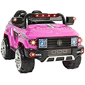 Eight24hours 12V MP3 Kids Ride on Truck Car R/c Remote Control, LED Lights AUX and Music Pink + FREE E - Book