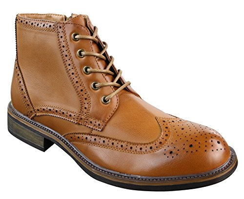 Mens Smart Casual Brouge Ankle Boots Shoes Tan Brown Black Laced Leather Tan cbLm6Z