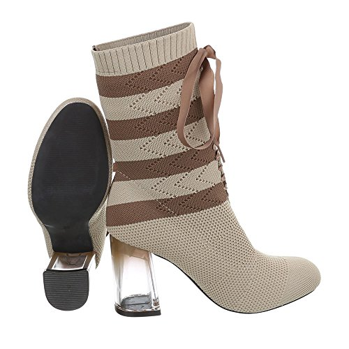 Ital-Design Zapatos Para Mujer Botas Mini Tacón Botines de Tacón beige marrone 2858