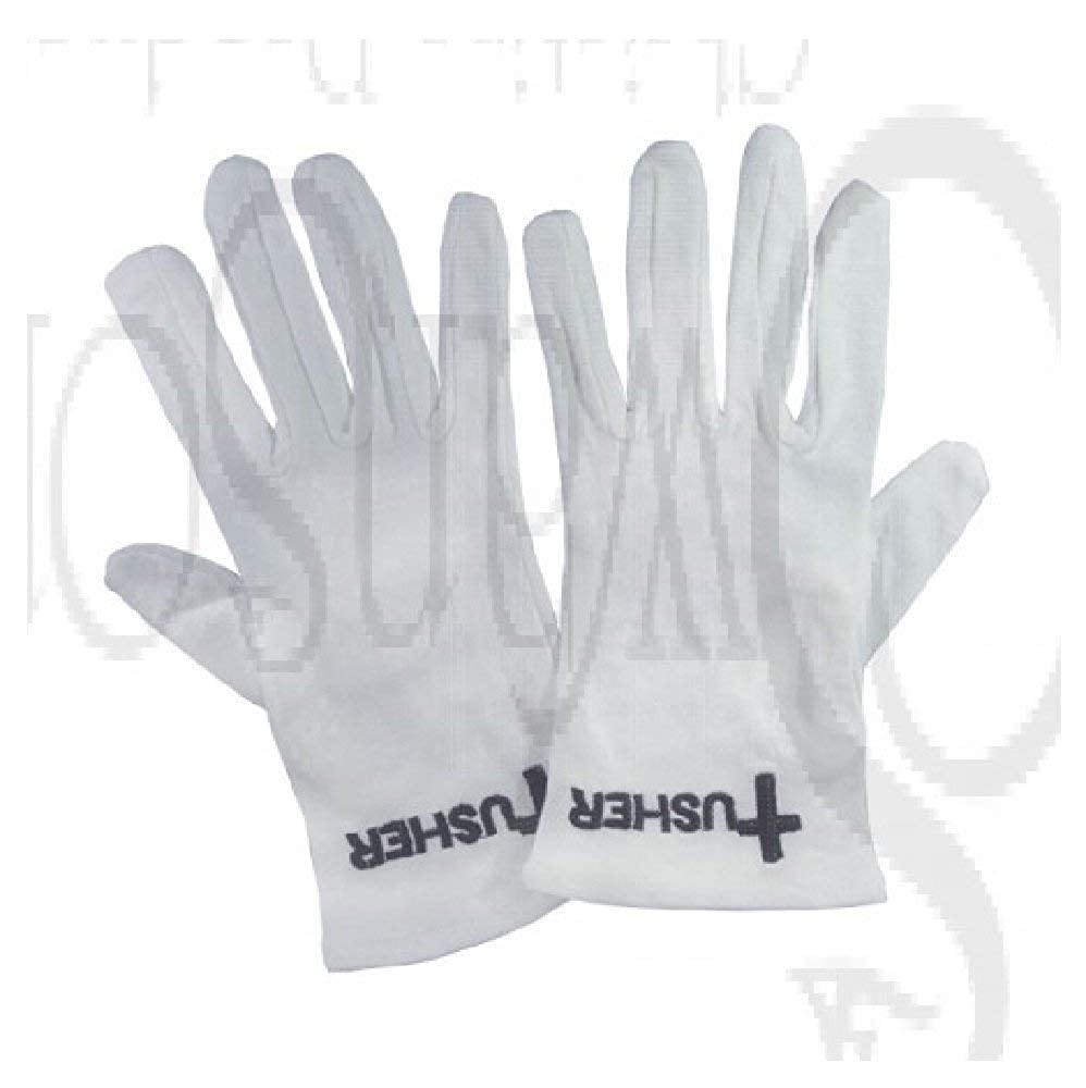 White Cotton Church Gloves With Black Embroidered Usher Cross