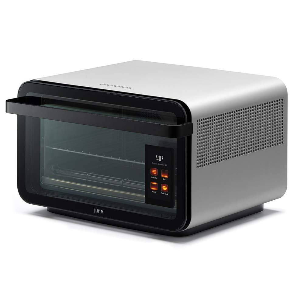 June Life Oven plus Gourmet Package. Do-it-all smart countertop convection oven. Seven appliances in one. Air fryer, slow cooker, dehydrator, convection oven, toaster oven, warming drawer and broiler by June Life