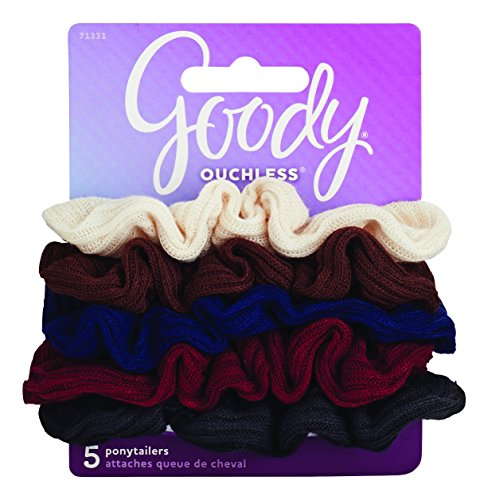 Goody Ouchless Hair Scrunchie, Small Ribbed, 5 Count