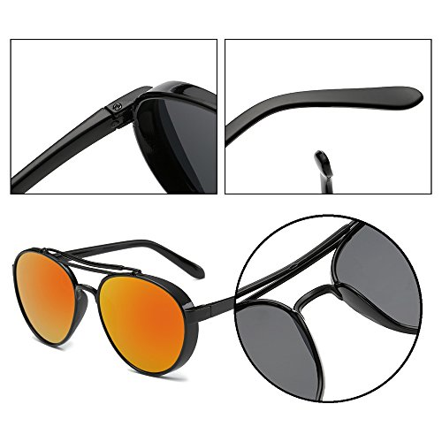 de rond style Hommes Cadre Orange Lentille Steampunk lunettes soleil Noir lunettes femmes et Dintang rétro de soleil lentille qXwd7HfH8