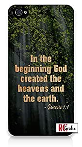 Religious Bible Verse Genesis 1:1 Bible Quote Direct-To-Case UV Printed (Not A Sticker) iphone 4s Quality TPU SOFT RUBBER Snap On Case for iphone 4s - AT&T Sprint Verizon - White Case