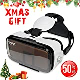 SMAVR 3D VR Immersive Headset Glasses, Virtual Reality Viewer Helmet Goggles, Private Theater for Movie & Games. Adjustable Pupil, Fit for Most Users via iOS & Android Phone within 4.7''-6.2'' (White)