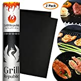 BBQ Grill Mat – Set of 2 Premium Heavy Duty Non Stick Grill mats – FDA Approved Black Outdoor Barbecue Grill matts – Reusable 500 Times – Easy to Clean – 13 x 15.7 inch