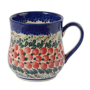 Traditional Polish Pottery, Handcrafted Ceramic Drop-shaped Mug (350 ml /12.3 fl oz), Boleslawiec Style Pattern, Q.102.CRANBERRY