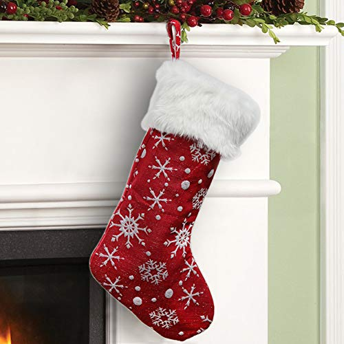 MAGGIFT Red Christmas Stocking with Snowflakes Pattern White Faux Fur Cuff for Xmas Party Decoration Kids Gift