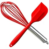 HauBee Kitchen Wire Balloon Silicone Whisk Set 600ºF Heat Resistant Non Stick Rubber Stainless Steel Seamless Design Baking Cooking Spatulas Tools (2 Pack,Red)