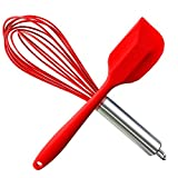 HauBee Kitchen Wire Balloon Silicone Whisk Set 600ºF Heat Resistant Non Stick Rubber Stainless Steel Seamless Design Baking Cooking Spatulas Tools (2 Pack,Red),