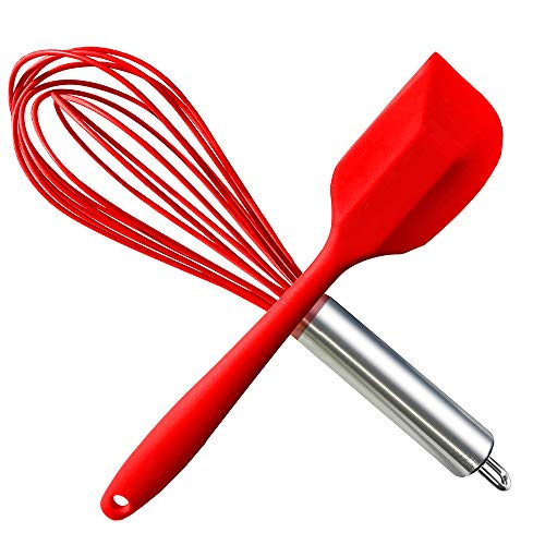 HauBee Kitchen Wire Balloon Silicone Whisk Set 600ºF Heat Resistant Non Stick Rubber Stainless Steel Seamless Design Baking Cooking Spatulas Tools (2 Pack,Red), ()