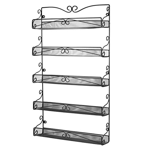 3S Wall Mounted Spice Rack Organizer for Cabinet Pantry Door Kitchen Large Hanging Spice Shelf5 Tier Black