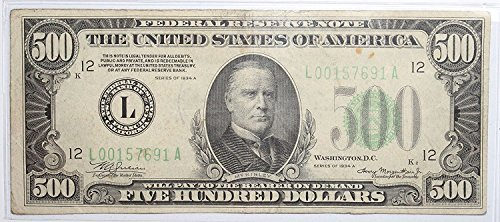 1934 A $500 Federal Reserve Note -