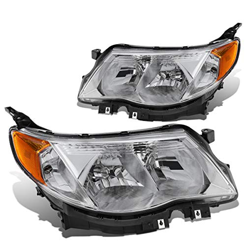 DNA Motoring HL-OH-SFOR09-CH-AM Pair Chrome/Amber Headlight/Lamps [for 09-13 Subaru Forester] (Subaru Headlight Forester Replacement)
