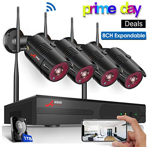 【8CH Expandable】Outdoor Wireless Security Camera System,ANRAN 8 Channel 1080P Home Video Wifi NVR Kit with 1TB HDD,4pcs 1080P Indoor Outdoor Surveillance IP Cameras,Easy Remote View,Plug Play,Free APP