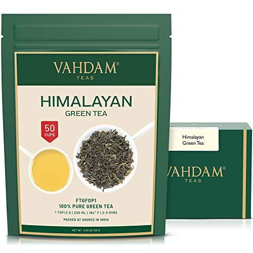 VAHDAM, Hojas de Te Verde del Himalaya (50 Tazas) | 100% NATURAL Y ORGANICO | POTENTES ANTIOXIDANTES | Sirve de Infusion Caliente | Te Kombucha | Te Verde Puro a Granel, 100g