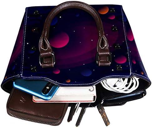 Nananma Schultertasche mit Tragegriff für Damen, aus Leder, mit dunklem Galaxie-Hintergrund bedruckt, Umhängetasche, Umhängetasche, Hobo-Tasche, Handtasche