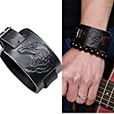 4EAELove Punk Style Leather Bracelet Genuine Leather Wolf Head Wristbands Bracelet Wide Belt Cuff Bangle