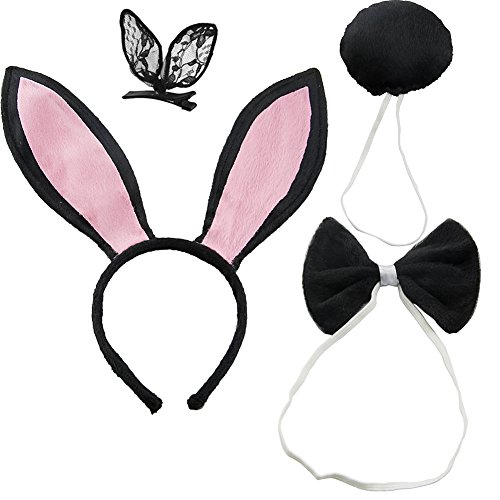 DJHbuy Rabbit Bunny Ears Headband Tail Bow Tie Set Xmas Halloween Cosplay (Pack of 4) -