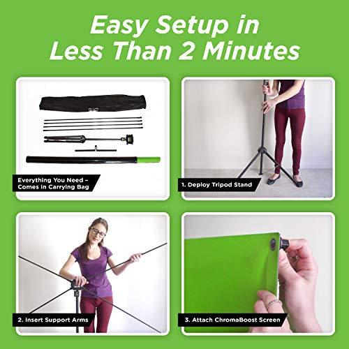 Valera Explorer 70 Inch Portable Green Screen for Streaming and Videos - Mounts on Tripod and Wall | Only 8 lbs | 2 min Setup | 16:9 Format | ChromaBoost Fabric with High Vibrancy for Low Lighting by On the Go Screens (Image #5)