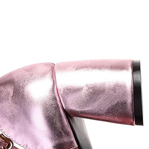 Bombas Muma Sandalias De Tacón Ásperas Mujeres Salvajes Mediados De Los Tacones Altos Zapatos De Las Mujeres Zapatos De Baotou Huecos Pistola De Color Rosa (color: Color Del Arma, Tamaño: / Cn37 Eu37 / Uk4.5-5) De Color Rosa